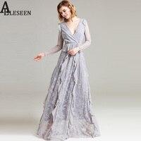 Fairy Long Sleeve Maxi Dresses 2017 Summer Women Fashion Deep Mesh Embroidery Grey Balck Lace Ruffle
