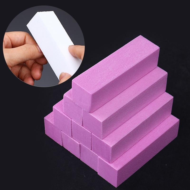 10 Unids / set Pink White Lijado Esponja Nail Buffers Archivos Bloque - Arte de uñas