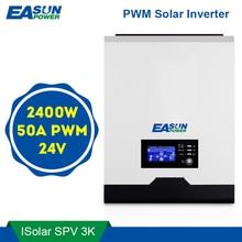 Easun power pwm inversor solar 2400w 24v 220v 50a pwm onda senoidal pura 3kva 50hz fora da grade inversor 25a carregador de bateria