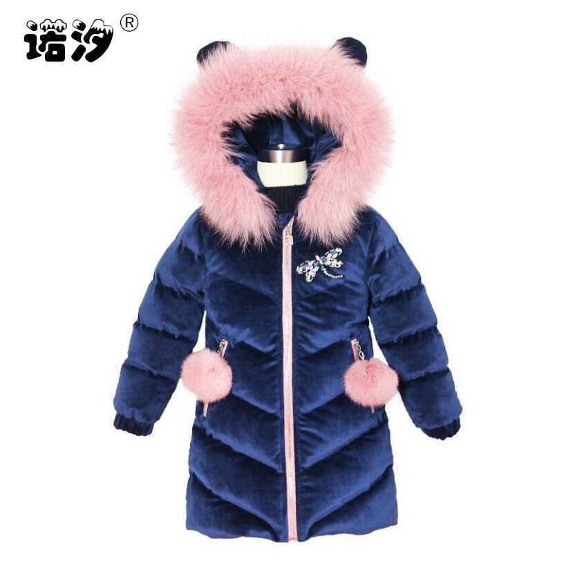 Girls winter jacket baby thickening cotton long style fashion coat kids warmly coat baby girls outwear 3-11T children outwear
