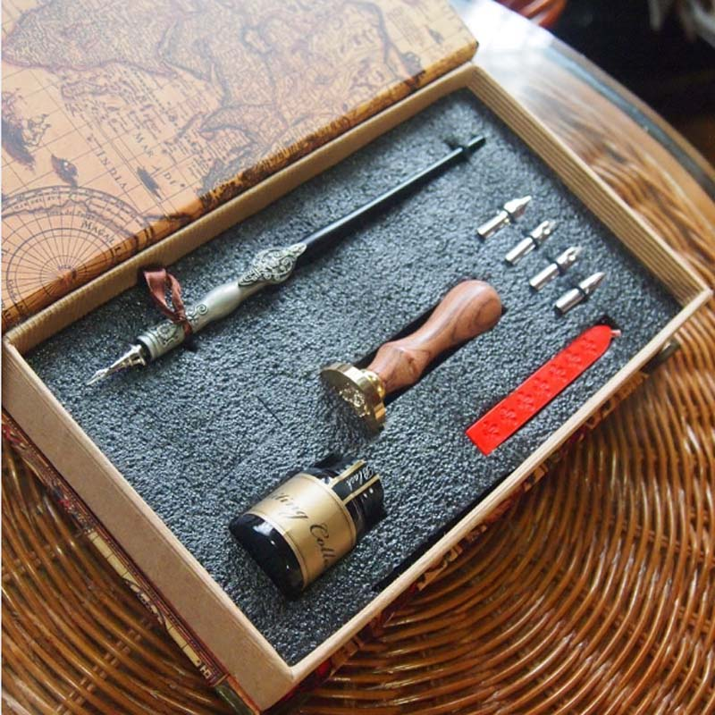 High Quality Antique Gift Dip Pen Set with 4 Nibs 1 ink Stamp Seal Wax Wedding Handwriting Pen globe earth wax seal stamp wax sealing kit wax seal gift package gift for him gift for her ss