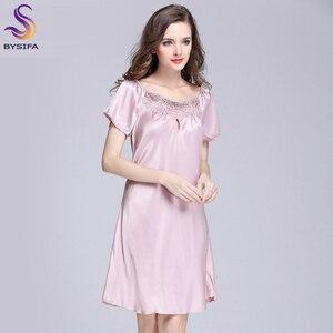 Image 5 - Jolie robe de nuit en soie pour jeunes femmes, vêtements imprimés à la mode, longueur genou, vêtements de nuit pour lété, rose, Camel, bleu, nouvelle collection 2020