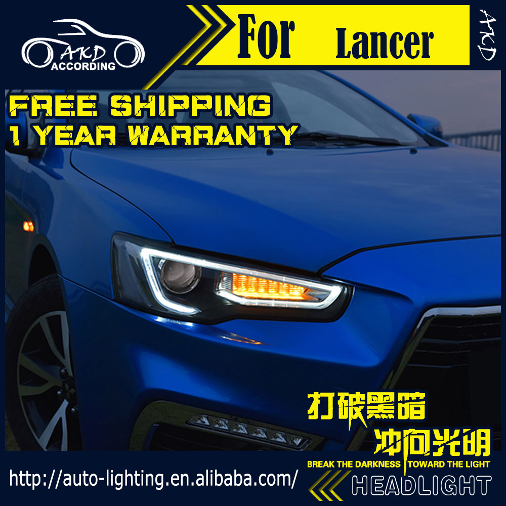 AKD Car Styling Head Lamp for Mitsubishi Lancer Headlights Lancer EX LED Headlight DRL H7 D2H Hid Option Angel Eye Bi Xenon Beam high quality car styling case for mitsubishi lancer ex 2009 2011 headlights led headlight drl lens double beam hid xenon