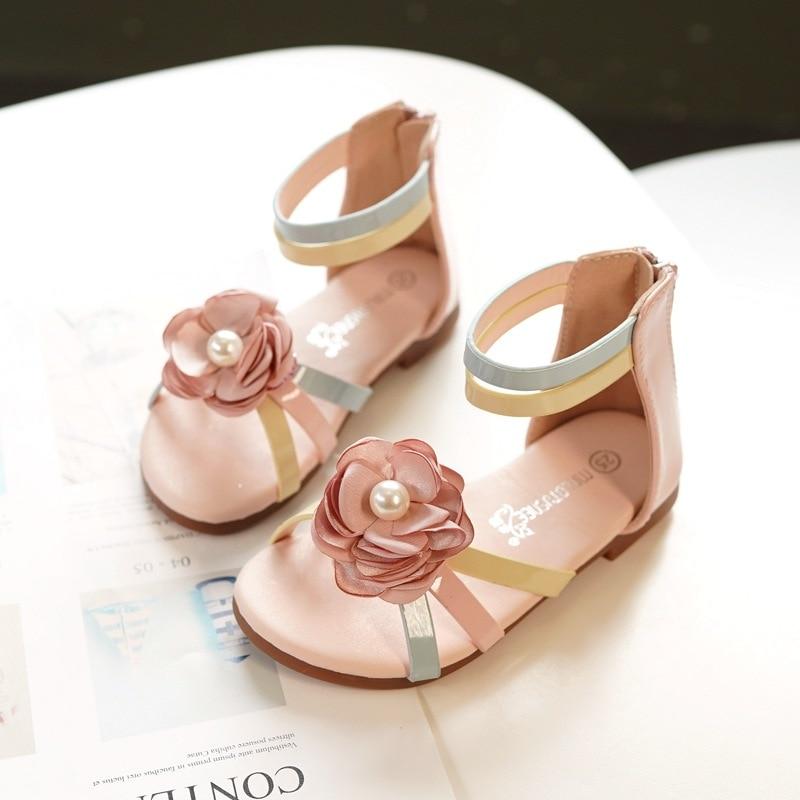 2019 nouveau été fille loisirs de plein air princesse romaine sandales coréenne perle fleur filles chaussures fille sandales petites chaussures pour enfants