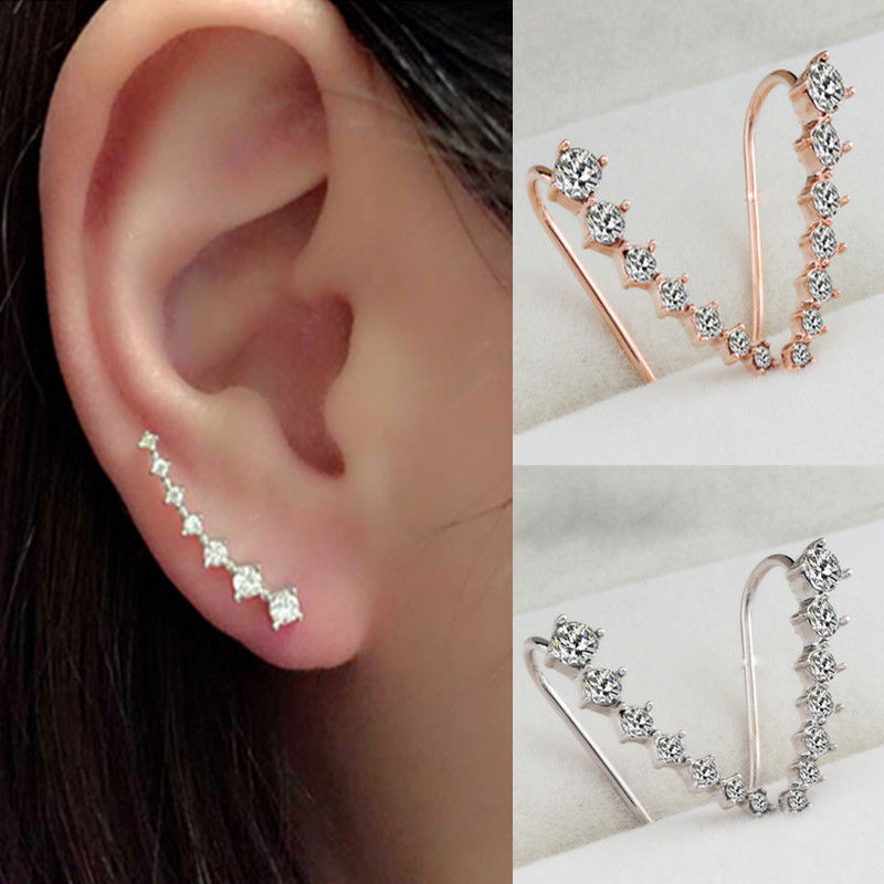 Top Quality  New Four-Prong Setting 7pcs CZ Crystal Gold  Ear Hook Stud Earrings Jewelry золотые серьги по уху