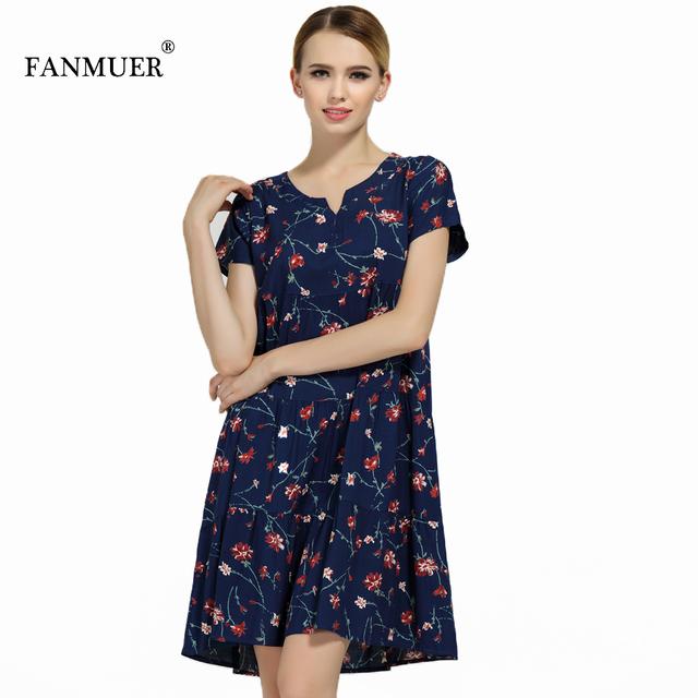New arrival  2017 summer dot dress vestido slim loose V-neck casual women clothing cotton patchwork vestidos dresses plus size