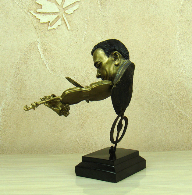 Abstract Violin Player Bust Musical Resin Statue 3