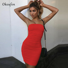 OKOUFEN Summer 2019 Sexy Dresses Wrapped With Pleats And Tight Fashion Comfortable Night Club Style Clothes NC0020