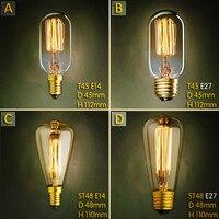 Bombilla Vintage Edison E27 de 40W, lámpara Retro E14, St45 St48, 2 uds.