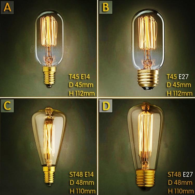 2pcs E27 40W Lampada Edison Lamp Retro E14 Bombilla Edison Bulb Bombillas Vintage Bulb Light Ampoules Decoratives St45 St48