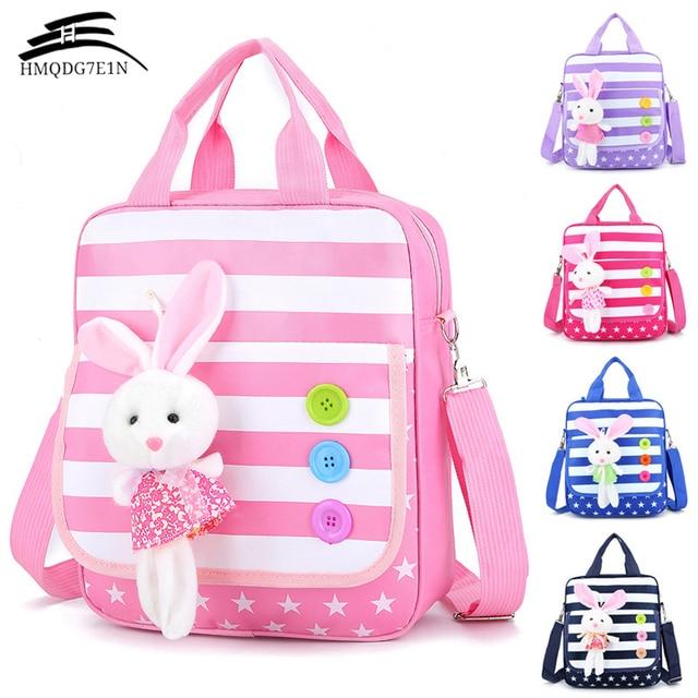 f9f7fed6fed Hot verkoop Kinderen Schooltassen voor Meisjes Roze crossbody schoudertas  Leuke Konijn School Knapzak Kids messenger tassen
