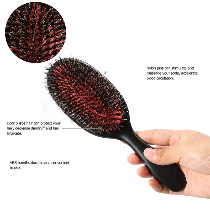 Купить с кэшбэком Oval Boar Bristle & Nylon Hair Comb Mini ABS Handle Anti-static Hair Scalp Massage Comb Hairbrush Salon Hair Brush Styling Tool
