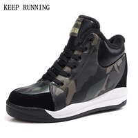 Outdoor Woman Winter Camouflage Running Shoes Super Popular Non Leather Sports Shoes Woman Hidden Wedge Heel