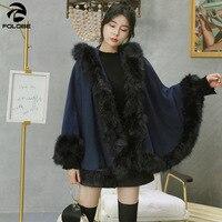 FOLOBE Korean Version Fur Neck Coat Temperament Cloak Shawl Coat Women Winter Knitted Faux Fur Poncho Capes Shawl Cardigans
