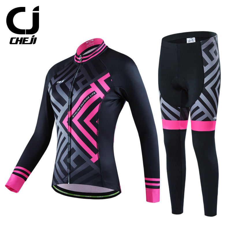 Cheji Winter Long Sleeve Thermal Fleece Women's Cycling Bike Jersey Ropa Ciclismo Breathable Cycling Clothing Bicycle Sportswear black thermal fleece cycling clothing winter fleece long adequate quality cycling jersey bicycle clothing cc5081