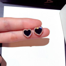 CX-Shirling Top Fashion Gold Anti-Allergy Earrings Women Elegant Stup Earrings Full Crystal Black Heart Shape Earring For Female cx shirling 4 colors crystal daisy female