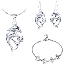 Pendant necklace Earrings ring  NEW  925 Sterling Silver  Austria crystal exports to Europe and  dolphin set Korean