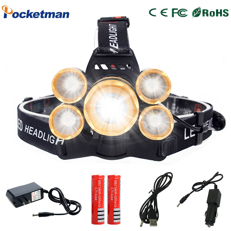 16000LM T6+4*XPE LED Headlamp 5LEDs Headlight Waterproof Lamp Zoomable light 18650 Battery USB charger Riding Hunting t6 xpe led head lamp 50w zoomable headlamp 5leds headlight tube torch led flashlight car charger 18650 batteries high lights