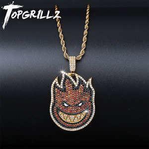 Image 1 - TOPGRILLZ Spitfire Pendant Necklace Iced Out Chain Gold Color With Tennis Chain With Cubic Zircon Mens Hip hop Rock Jewelry