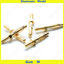 10pcs  4mm Banana Plug Panel Mount One Pure Copper Gold Plated Connector Jack M4 Thread H-2031