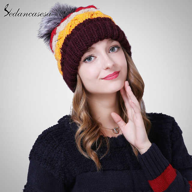3298b15c59 Sedancasesa New Winter Hat Female Korean Fashion Hat Earflaps Cap With  lovely Fur Pom knitted Hat
