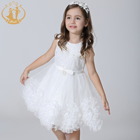 2016 Girls Dress Party Wedding Sleeveless O Neck Embroidery Pearls SolidKnee Length Beading Cotton Polyester Bow