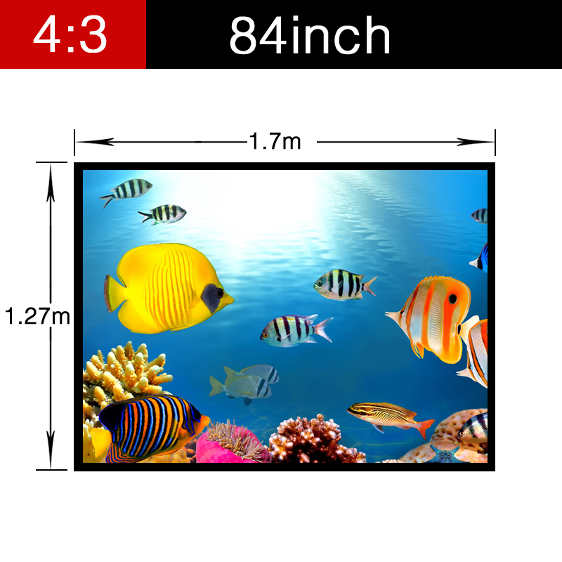 Luxury Home Theater Foldable Screen 84inch 4:3 Matt white Projector Best PVC Soft Projection Video with holes Portable