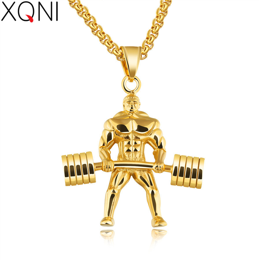 XQNI Silver/Gold/Black Stainless Steel Sport Fitness Men Pendant Necklace Box Chain Male Muscular Hercules Dumbbells Travel Gift