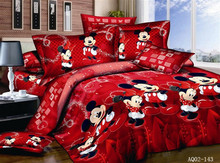 4PCS 100% Cotton bed linen 3d mickey mouse bedding sets minnie kids duvet cover king/queen/twin size bedspread Red happy
