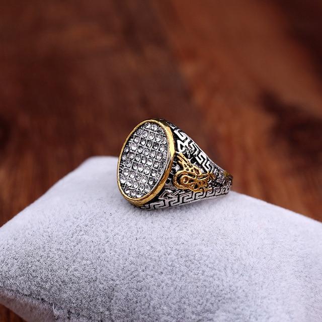 تصميم جديد Vintage العرقية العتيقة مسلم إصبع عرض كبير سبيكة فضية اللون الرجال خاتم الإسلام