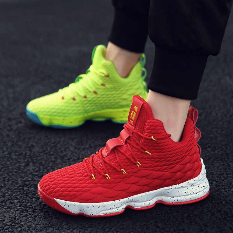 c7fa6a70 Высокие Lebron баскетбольные Кеды мужские женские дышащая подушка баскетбольные  кроссовки нескользящие спортивные уличные спортивные ботинки мужские