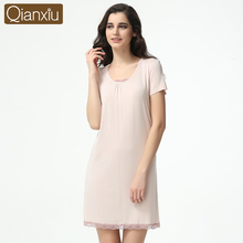 Summer Brand Female Lounge Sleepshirt O-neck Modal Soft Short Sleeve Sleepwear Women's Nighty Casual Girls Lace Homewear