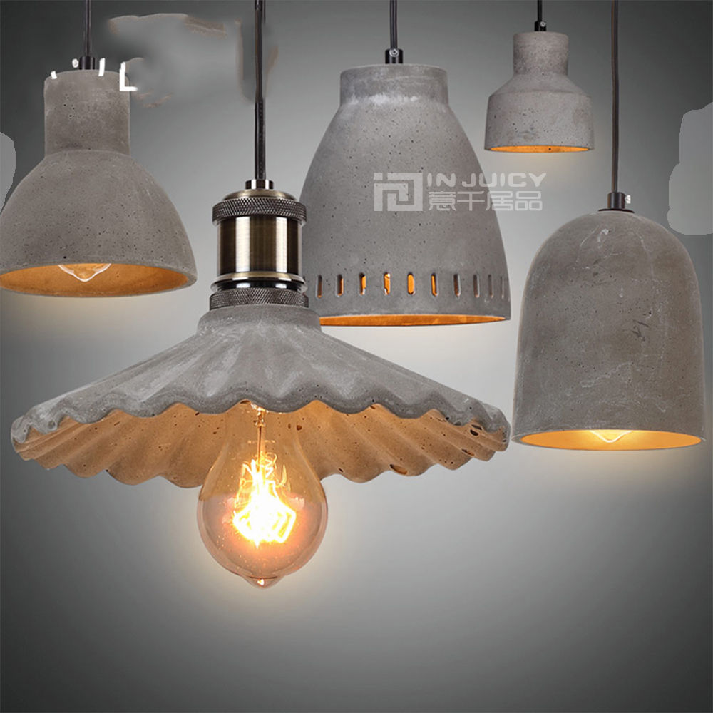 Loft Retro Vintage Industrial Cement Chandelier Cafe Bar Store Hall Club Restaurant Ceiling Lamp Edison Concrete Droplight edison industrial vintage metal pendant hanging lights cafe bar hall shop club store restaurant balcony droplight black decor