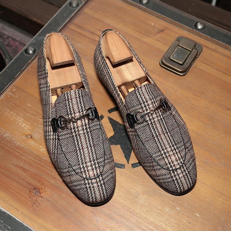 A Mocasines Alta Británico Slip Zapatos Pisos Cuadros De Verano Vestido Hombres Cuero Oxfords Hombre Estilo Los Calidad Transpirable Para Mulas on 8vdHHqw