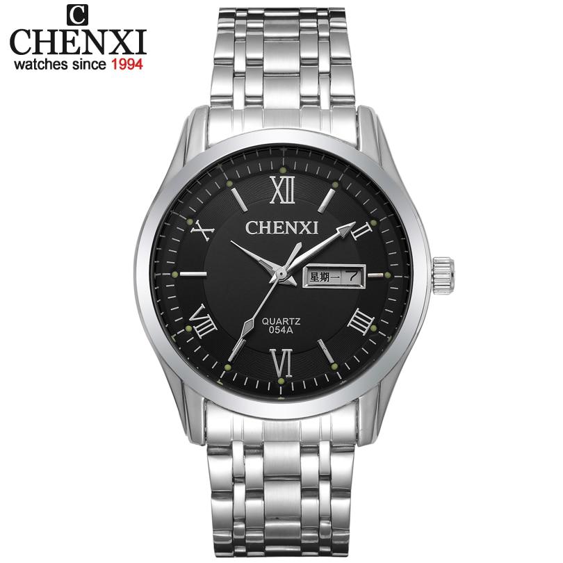 CHENXI Men fashion Brand Watches Stainless Steel boys Wristwatch Analog Quartz Dress Man Fashions Clock Men Watch With Date Week