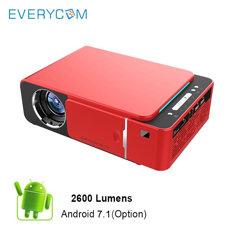 Everycom T6 HA CONDOTTO il Proiettore HD 2600 Lumen Portatile HDMI USB di Sostegno 4 K 1080 p Home Theater Cinema Proyector Beamer