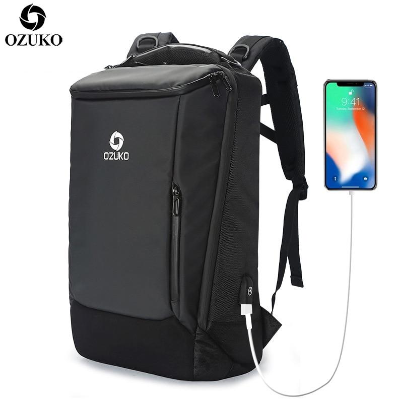 OZUKO New 14 17 Laptop Business Backpacks Men s Multifunction Waterproof Travel Backpack Fashion School Backpack