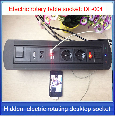 Electric rotation Desktop socket /hidden/multimedia HDMI RJ45 USB charging socket/Can choose function module EU/US/Plug/ DF-004