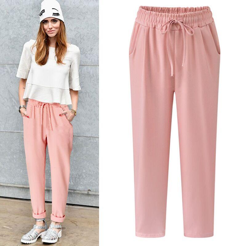 bdad05415b 2017 Hot Sale Polyester Pants Autumn Women Long Pants Fashion Harem Pants  Drawstring Elastic Waist Pants big size Women Trousers