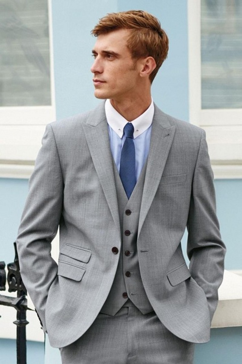 3 Pieces Grey Navy Mens Suits Wedding Suits for Men Groom Tuxedos Business Formal Suit (Jacket+Pants+vest+tie)