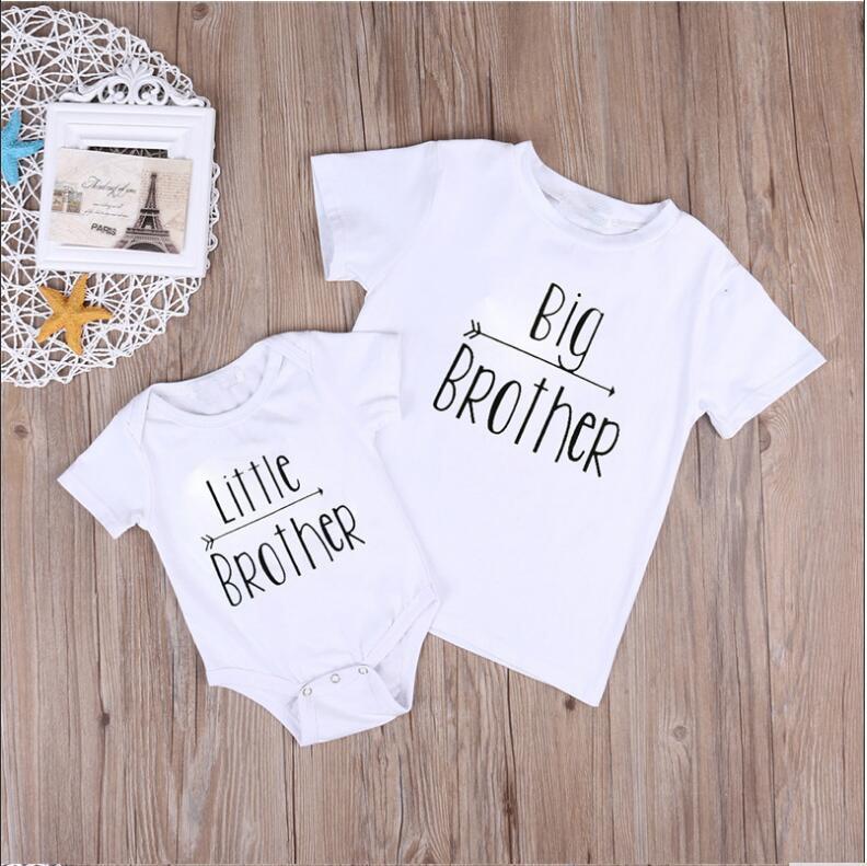 Nagytestvér ruházat kisfiú lány pamut felsők ing felső nagy testvér póló ruhák készlet ruhák nyári virág levél póló