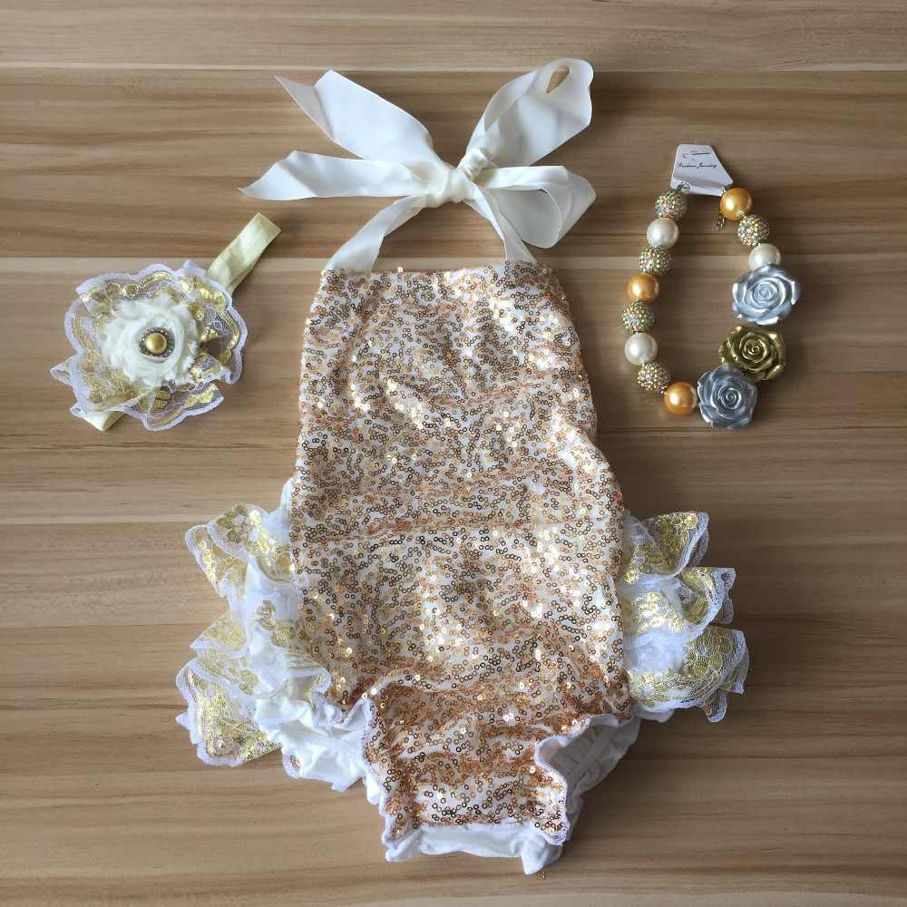 314554f61f36 2018 baby girl Boutique Outfits Gold Sequins Lace Ruffle Bubble Romper  infant clothing baby kids headband