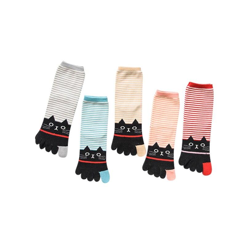 Coton Chaussettes Pour Dames Confortable Casual Femme Bande Chaussettes Kittern Motif Chaud Femmes Orteil Chaussettes 3 paires/lot