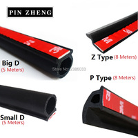 5mBig D 5mSmall D 8mZ Type 8mP Type Car Door Seal Strip Waterproof Trim Noise Insulation