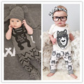 2017 boys and girls summer suit children's little monster fashion baby short sleeve sets children wear