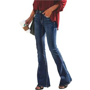 Image 4 - LIBERJOG セクシーな女性ベルボトムパンツジーンズコットン秋冬カジュアル穴ワイド脚フレアデニムパンツ女性のジーンズ