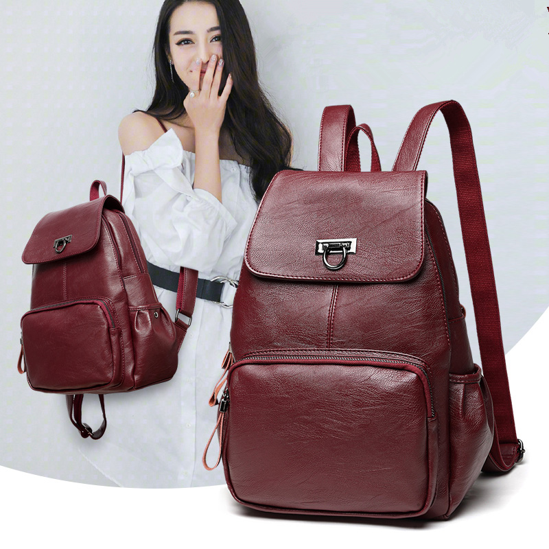 Leather Backpack Women Fashion Female Backpack String Bags Large Capacity School Girl Daily Bag Travel Bags Mochila Feminina