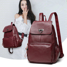 Leather Backpack Women Fashion Female Backpack String Bags Large Capacity School Girl Daily Bag Travel Bags Mochila Feminina(China)