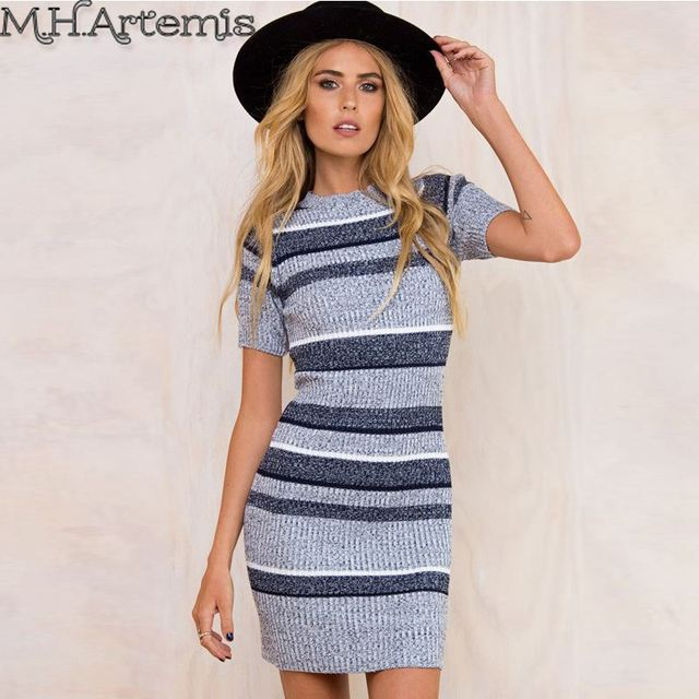 ef3a138c1e5f5 M.H.Artemis Autumn skripe short sleeve winter sweater Dress round neck  Knitted pullover Bodycon Mini Women