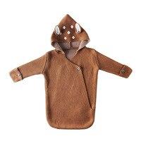 3D Adorable Deer Ear Baby Sleeping Bag Spring Autumn Newborn Infant Knitted Swaddle Wrap Nest Envelopes For Toddler Kid 0 1Y